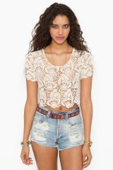 Nasty Gal Crochet Crop Top Cream - Lyst