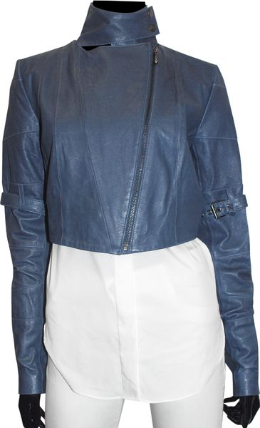 preen line leather fencing jacket in blue navy lyst