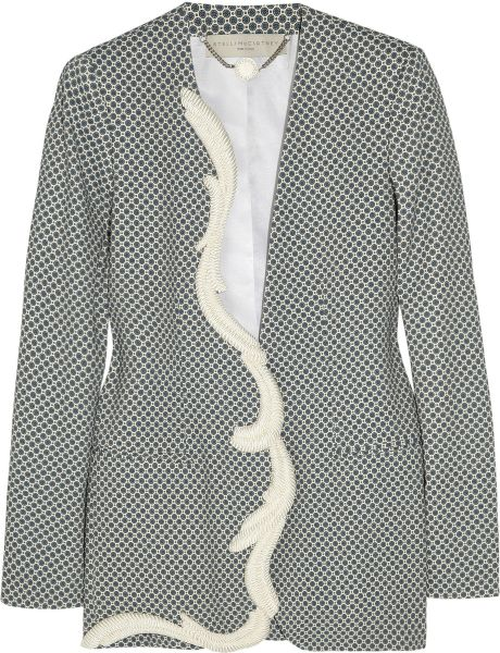 Stella Mccartney Ray Printed Crepe Jacket in Gray (blue)