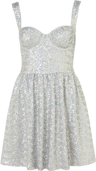 Topshop Disco Sequin Prom Dress - Lyst