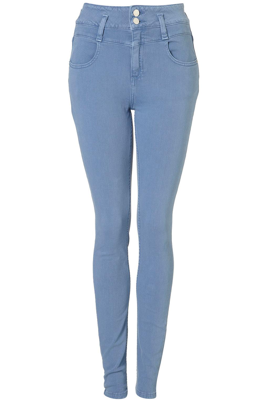 Topshop Moto Sky High Waist Kristen Jeans in Blue | Lyst