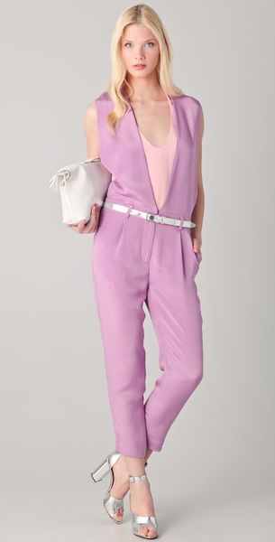 3.1 Phillip Lim V Neck Jumpsuit in Purple - Lyst