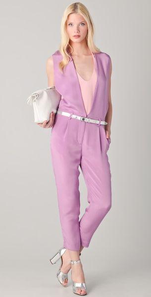 3.1 Phillip Lim V Neck Jumpsuit in Purple
