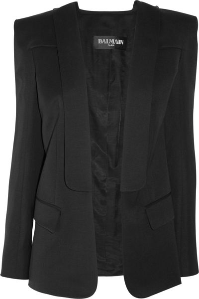 Balmain Wool and Linenblend Jacket in Black - Lyst