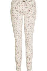 Current/Elliott The Stiletto Floralprint Cropped Lowrise Skinny Jeans - Lyst