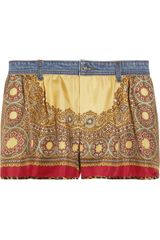 D&G Printed Silk and Denim Shorts - Lyst