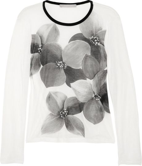 Jason Wu Printed Jersey Top in Black (ivory) - Lyst