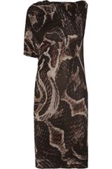 Lanvin Serpent Asymmetric Printed Jersey Dress - Lyst
