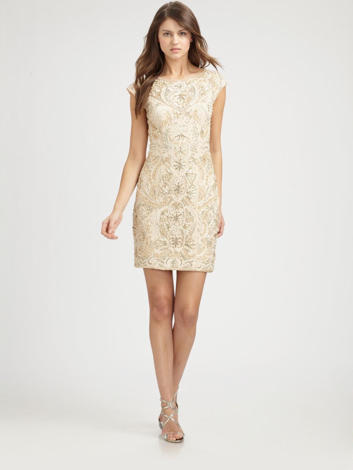 83910d2683e Sue Wong Beaded Dress in Metallic - Lyst