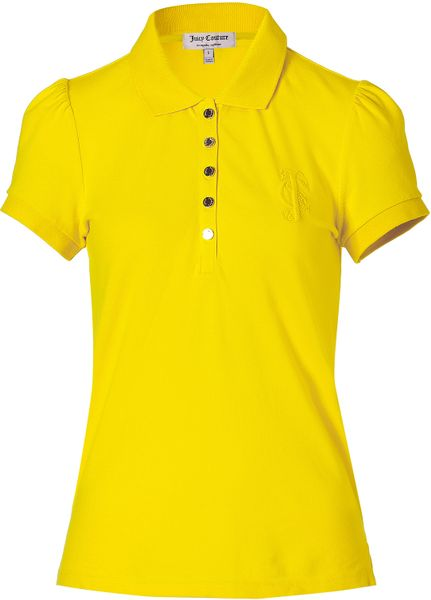 Juicy Couture Grapefruit Puff Sleeve Polo Shirt in Yellow - Lyst