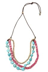 Lucky Brand Turquoise Multibeaded Necklace - Lyst