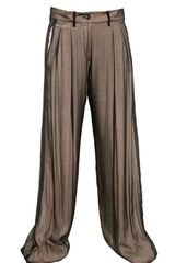 Ann Demeulemeester Silk Chiffon On Techno Crepe Trousers - Lyst