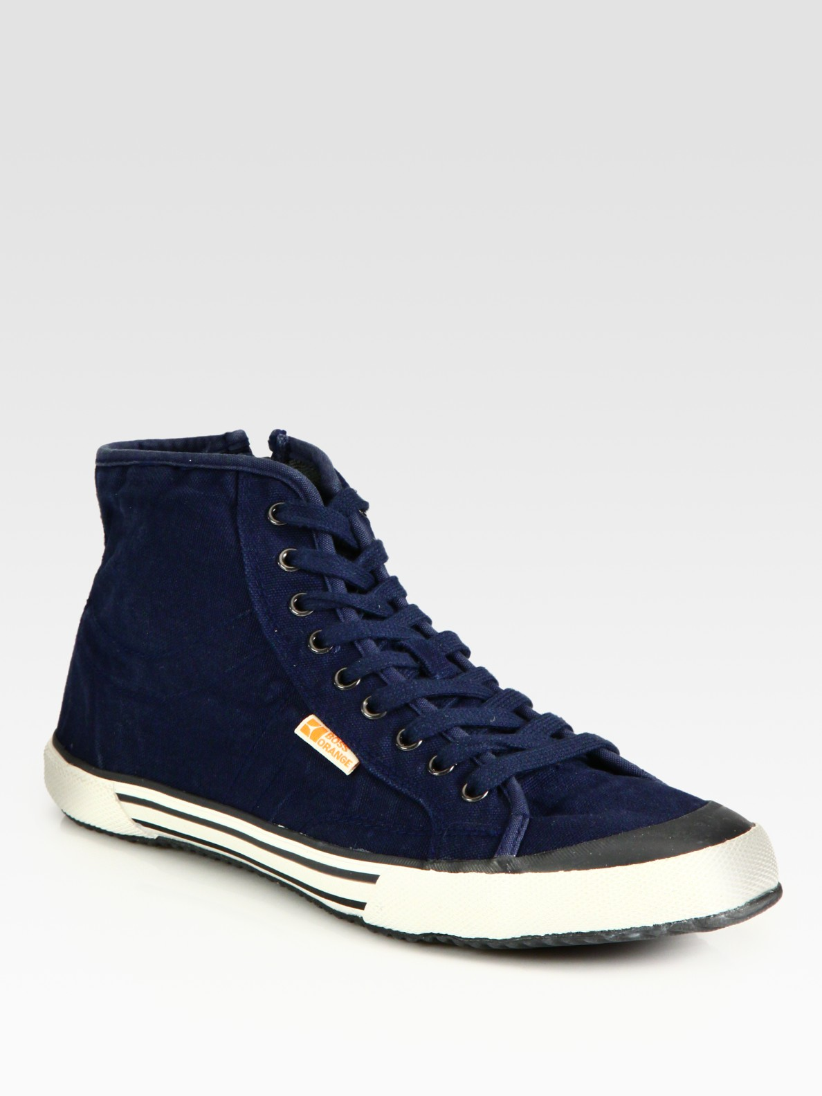 boss orange santer midtop sneakers in blue for men navy. Black Bedroom Furniture Sets. Home Design Ideas