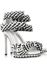 Camilla Skovgaard Woven Leather Sandals in Black (white) - Lyst