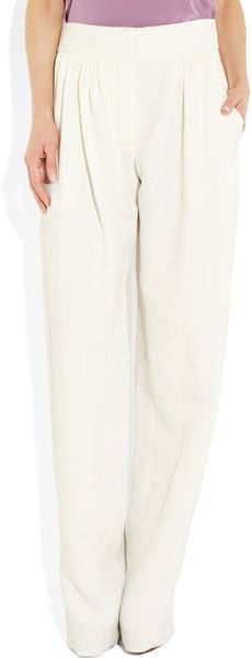 Chloé Pleated Wideleg Twill Pants in Beige (cream) - Lyst