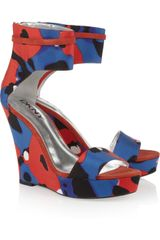 DKNY Printed Canvas Wedge Sandals