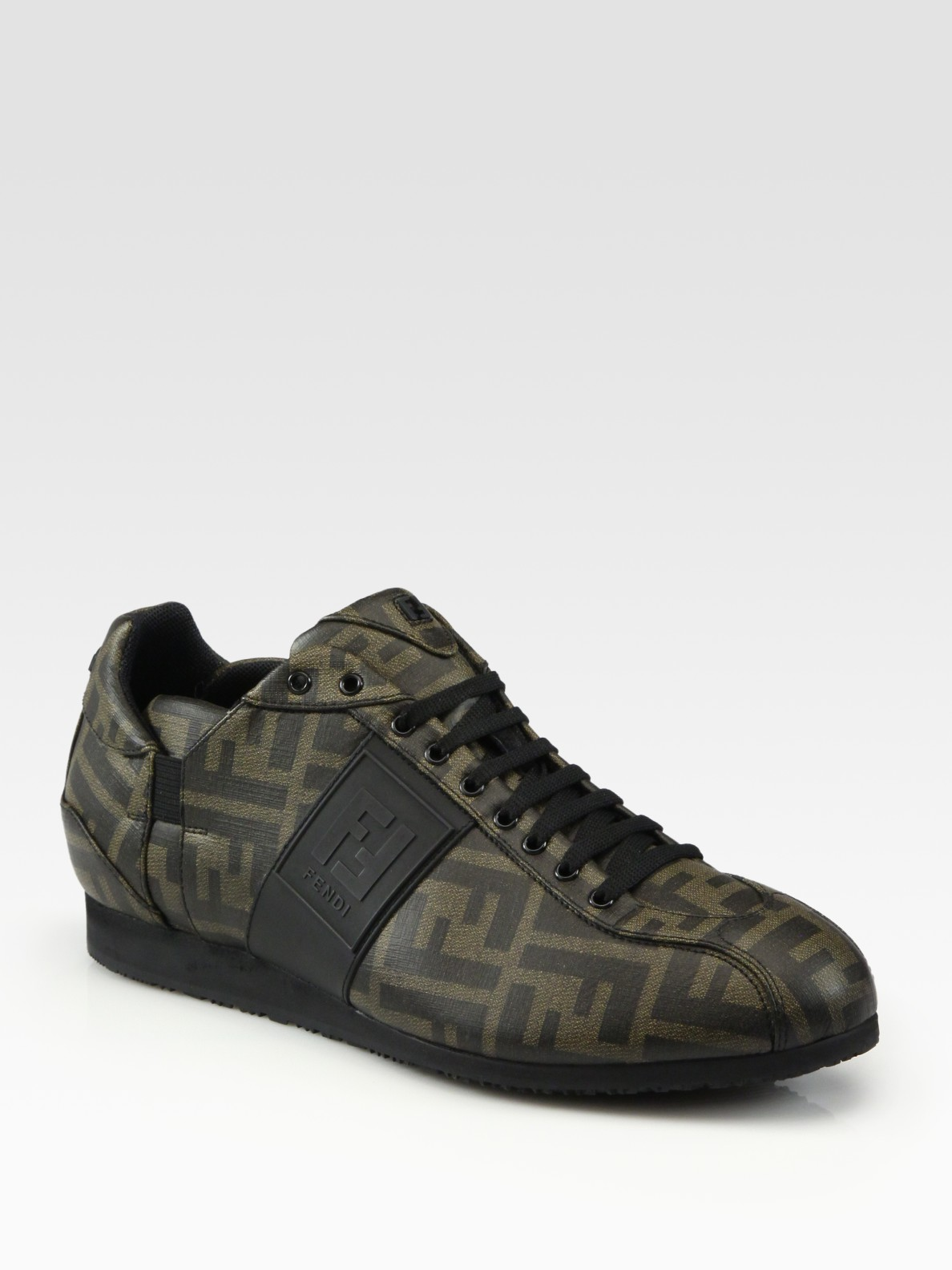 Lyst Fendi Zucca Canvas Sneakers In Brown For Men
