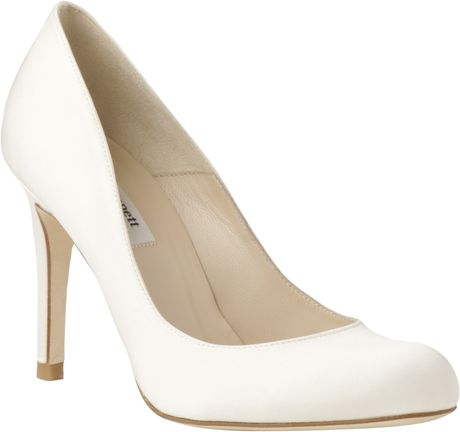 lk bennett lk bennett shilo satin court shoes cream in. Black Bedroom Furniture Sets. Home Design Ideas