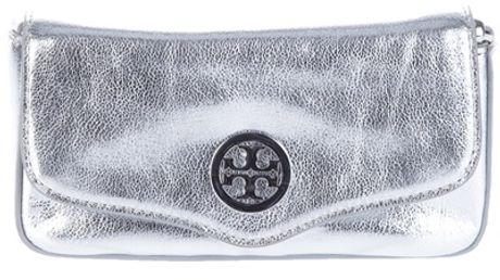 Tory Burch Mini Metallic Chain Bag in Silver - Lyst