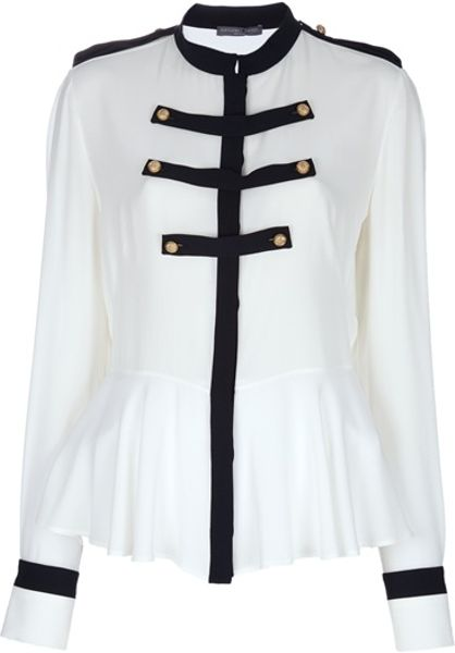 Alexander Mcqueen Military Style Blouse in White - Lyst