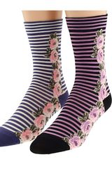 Anna Sui Side Floral Stripe Sock with Backseam 2 Pack - Lyst