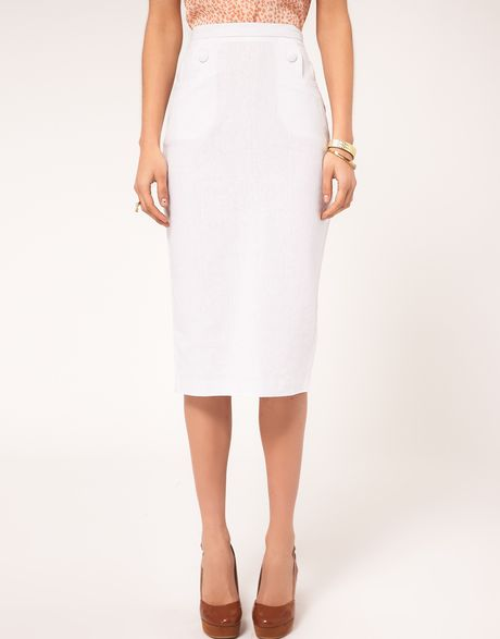 asos collection asos linen button detail pencil skirt in