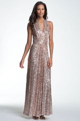 Badgley Mischka Sequin Overlay Halter Gown - Lyst