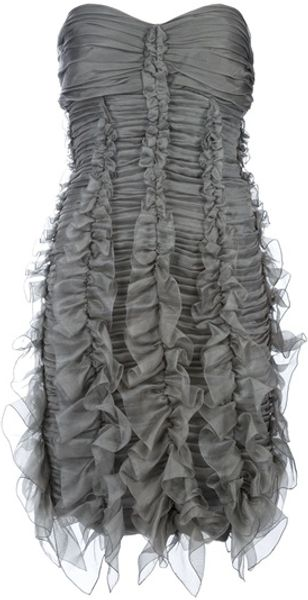 Burberry Prorsum Ruched Strapless Dress - Lyst