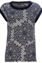Dolce & Gabbana Lace Print Top in Gray (black) - Lyst