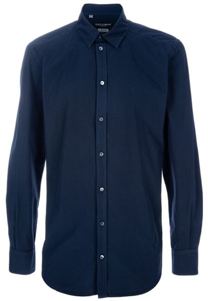 Dolce & Gabbana Cotton Shirt in Blue for Men - Lyst