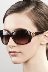 Gucci Sunglasses Heart Logo Sunglasses Havana - Lyst