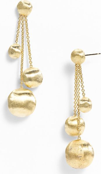 Marco Bicego Africa Gold Triple Drop Earrings in Gold (yellow gold) - Lyst