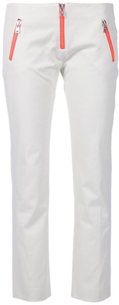Mcq By Alexander Mcqueen Cropped Cotton Trouser in White - Lyst