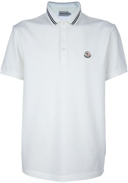 Moncler Logo Polo Shirt in White for Men - Lyst