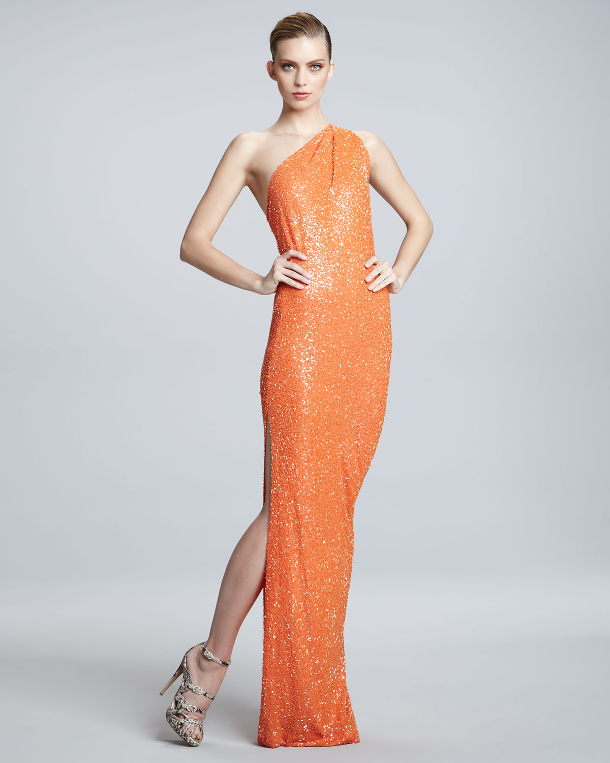 Naeem khan One-shoulder Sequin Gown in Orange | Lyst