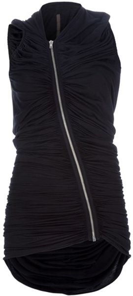 Rick Owens Lilies Asymmetric Ruched Cardigan in Black - Lyst