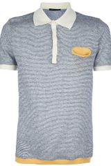 Roberto Collina Striped Polo Shirt in Gray for Men (grey) - Lyst