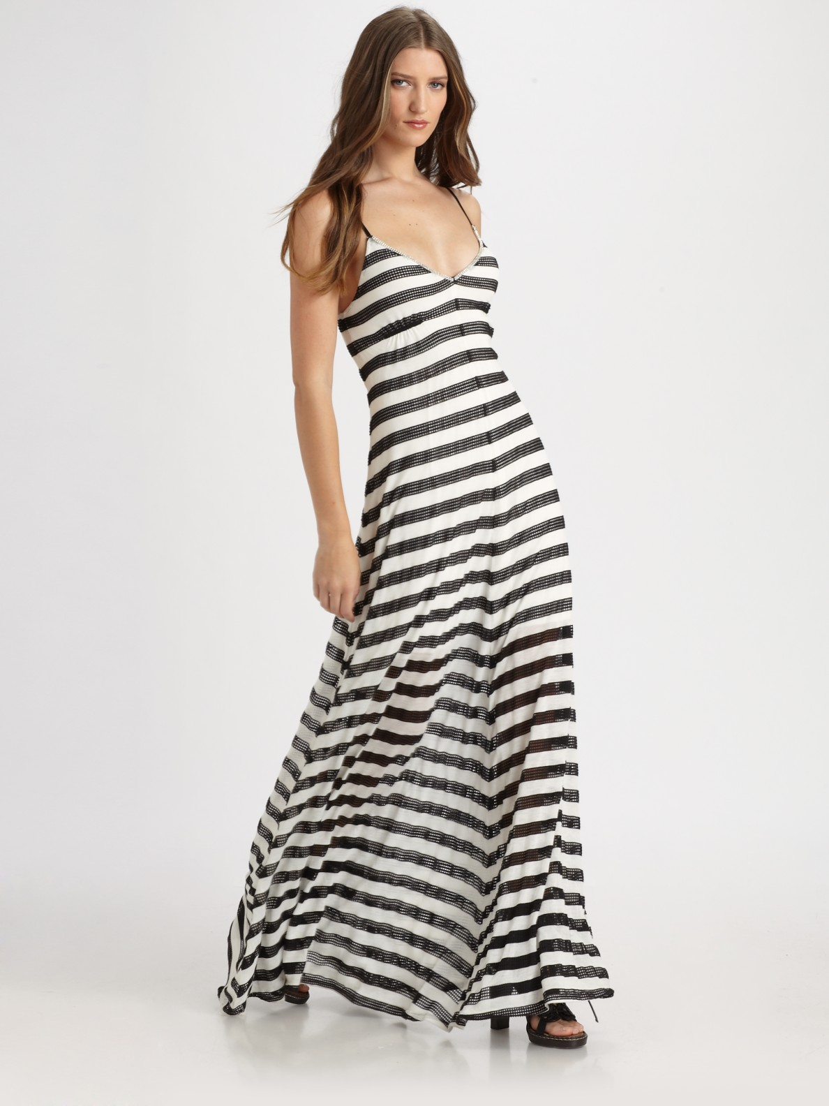 48c3f8b65a Lyst - Royal Underground Mesh Striped Maxi Dress in White