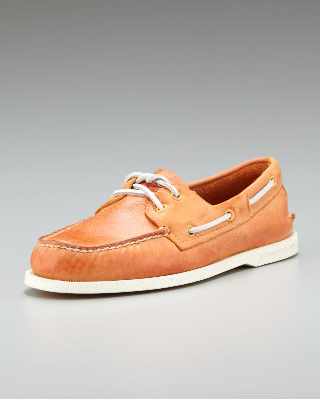 Sperry top-sider Burnished Boat Shoe Orange in Orange for Men | Lyst