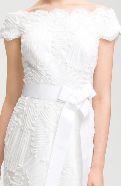 tadashi shoji cap sleeve bow belt dress in white ivory