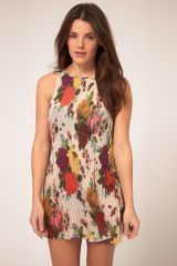 Ted Baker Pleated Mini Dress With Rose Bug Print - Lyst