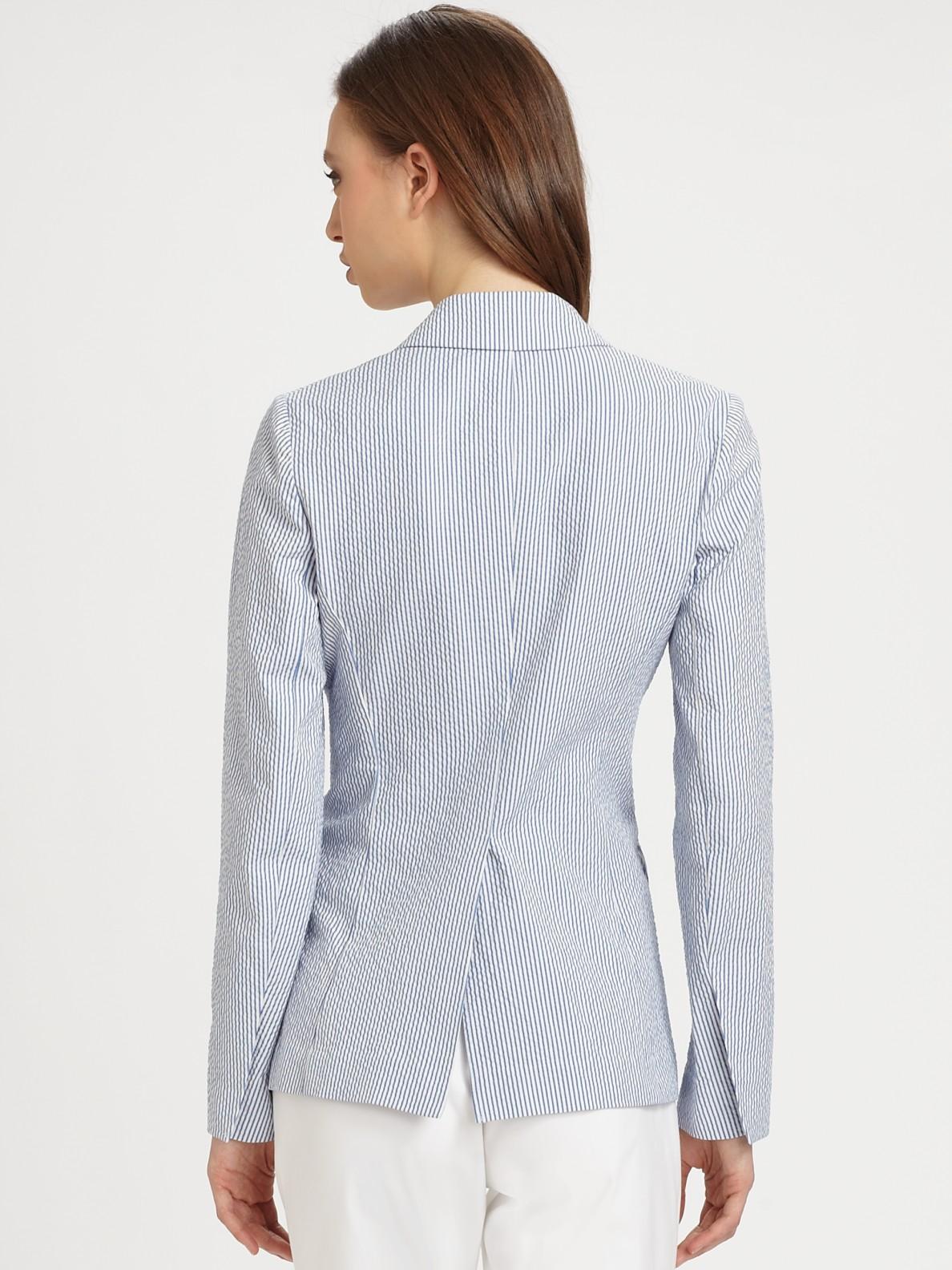 lyst theory seersucker blazer in blue. Black Bedroom Furniture Sets. Home Design Ideas