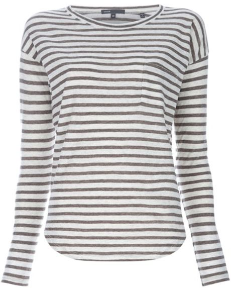 Vince Fisherman Stripe Top in White - Lyst
