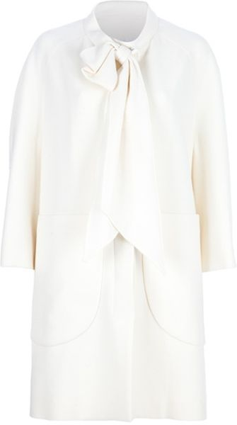 Yves Saint Laurent Bow Neck Tie Coat in White (ivory) - Lyst