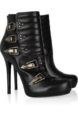 Alexander McQueen Paneled Leather Ankle Boots - Lyst