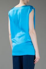 Bottega Veneta Draped Silk Top in Blue (aqua) - Lyst