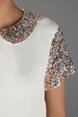 By Malene Birger Sequin Blouse in Beige (cream) - Lyst