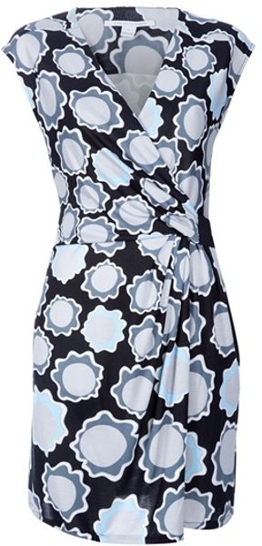 Diane Von Furstenberg Printed Dress in Gray (black) - Lyst