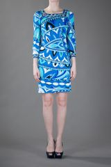 Emilio Pucci Abstract Print Dress in Blue - Lyst
