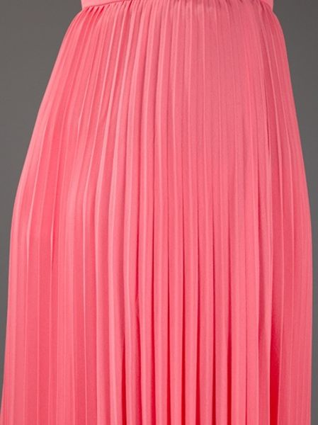 heritage pleated maxi skirt in pink lyst